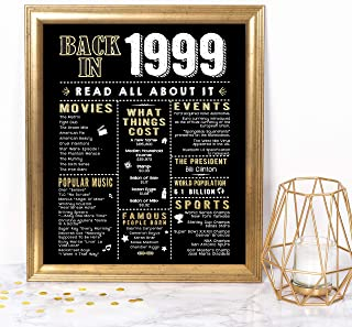 Katie Doodle 20th Birthday Decorations Gifts for Husband Wife Men Women | Includes 8x10 Back-in-1999 Sign [Unframed], BD020, Black/Gold