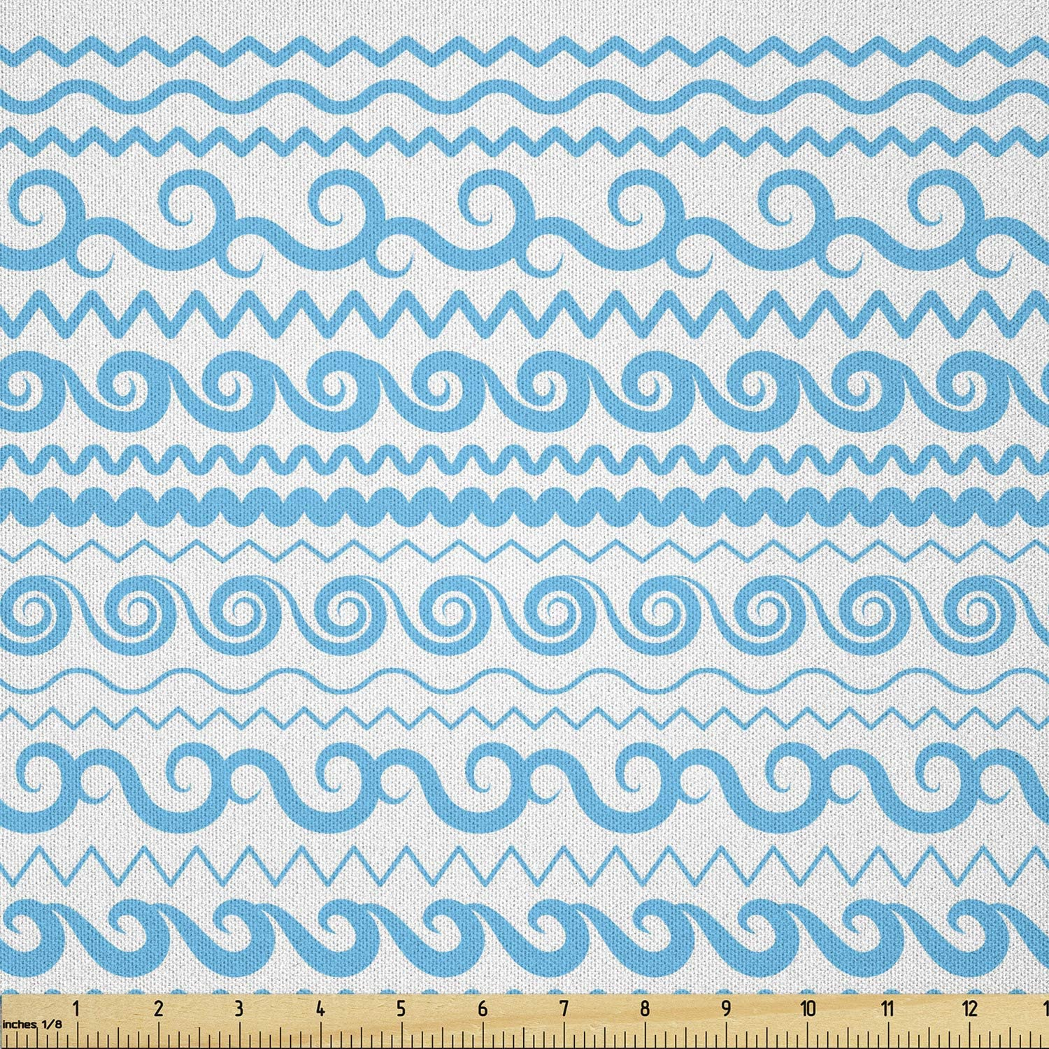 Ambesonne Nautical Manufacturer regenerated product Blue Fabric Ranking TOP7 by of Style Monochrome Yard The