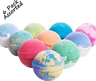 360Feel 6 Large Bath Bombs Gift Set Assorted USA made -Bath Fizzies- Vegan Kids Love Them Perfect Gift For Her Organic Shea Butter Aromatherapy Ultra Lush Bath Bomb- Christmas Stocking Stuffers