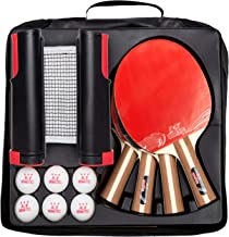 IntegraFun Pro Ping Pong Paddle Set with Ping Pong Net- Bracket Clamps,3-star Ping Pong Balls, Storage Case - Retractable ...