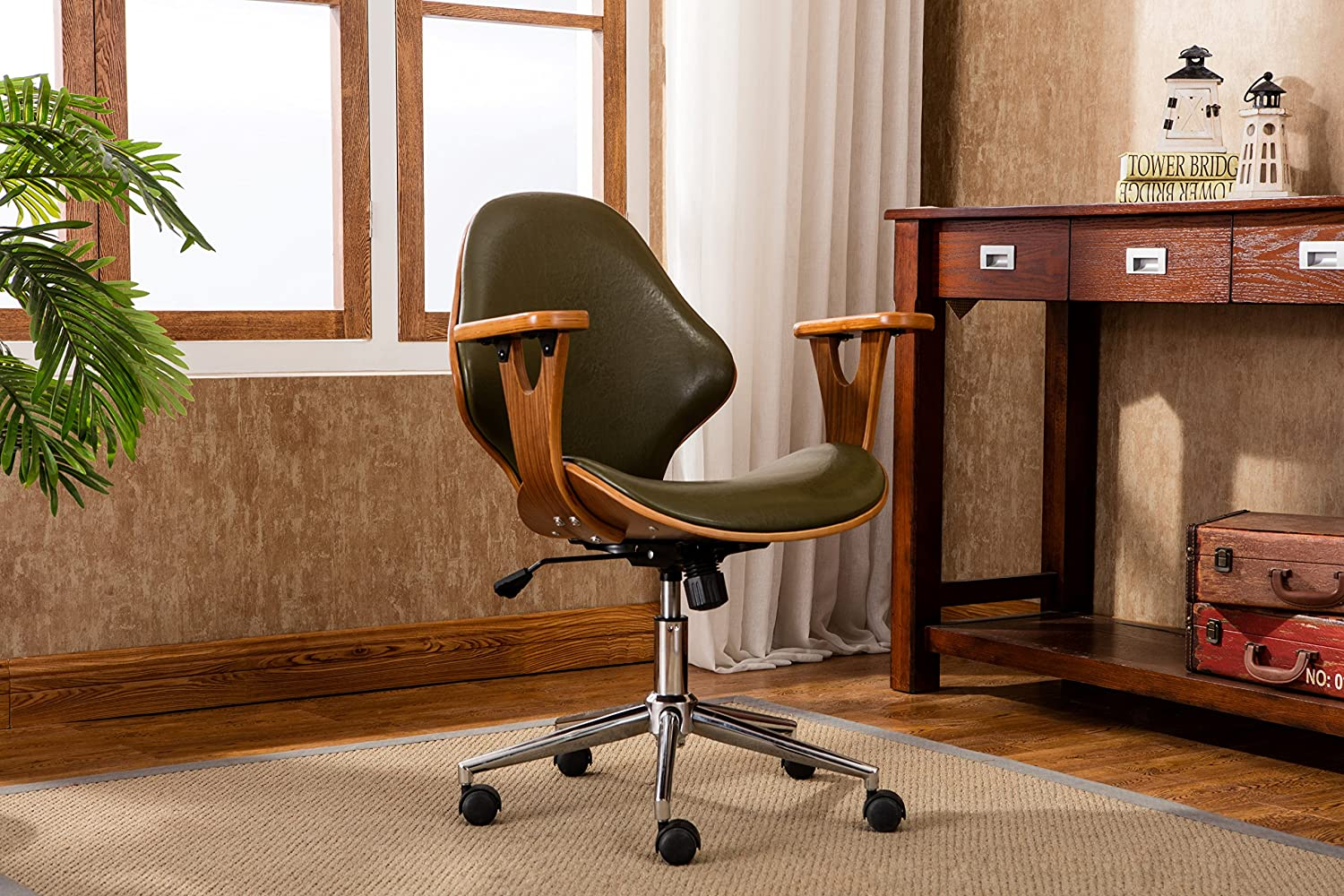Porthos Home SKC009A GRN Lilian Office Chairs in Mid Century Modern Design with Arm Rests, Leather Upholstery, Height Adjustment & Stainless Steel Legs, Green