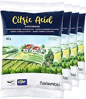 Nortembio Ácido Cítrico 2 Kg (4x500g). Polvo Anhidro, 100% Puro. para Producción Ecológica. E-Book Incluido.