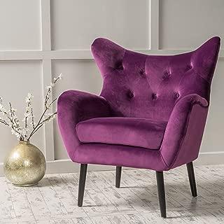 Christopher Knight Home 298851 Alyssa Velvet Arm Chair, Fuchsia