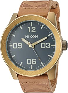 Nixon Men's Corporal Stainless Steel Japanese-Quartz Watch with Leather-Synthetic Strap, Brown, 23 (Model: A2432731)