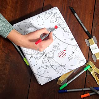 eatsleepdoodle Color-in Holiday and Thanksgiving Festive Wrap – Color Your Own Gift Wrapping Paper, 3 Sheets of Gift Wrap with 10 Pens Included