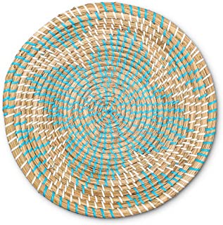 Woven Basket Bowl Wall Hanging | Handmade Decorative Bowl with Hook | Chic Boho Décor, Ideal Housewarming Gift for Her | Blue Seagrass 13 Inches