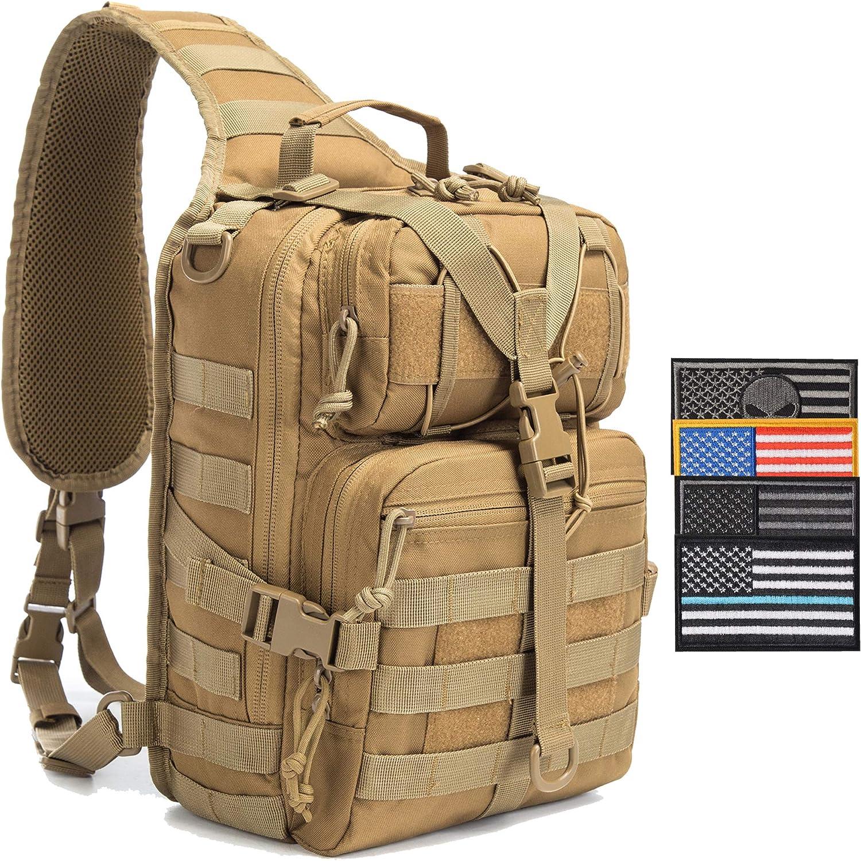 with USA Flag Patch SHELCUP EDC Sling Bag Pack Rover Shoulder Molle Backpack
