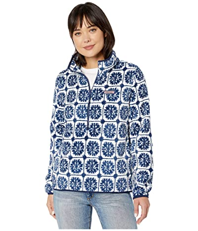 Vineyard Vines Printed Monkey Fleece 1/2 Zip (Deep Bay) Women