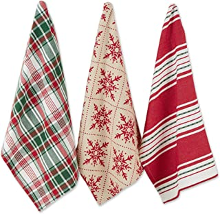 DII Nordic Christmas Collection Kitchen 100% Cotton, Assorted Dishtowel Set, 18x28, Scandinavian Snowflakes 3 Piece