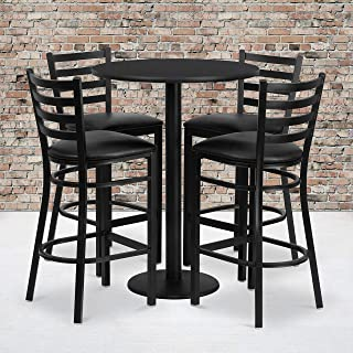 Flash Furniture 30'' Round Black Laminate Table Set with Round Base and 4 Ladder Back Metal Barstools - Black Vinyl Seat