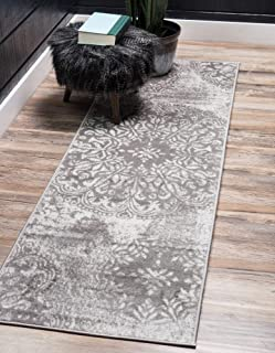 Unique Loom 3138685 Sofia Collection Traditional Vintage Beige Area Rug, 2' x 7' Runner, Light Gray