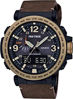 Casio Mens PRO Trek Quartz Watch with Leather Calfskin Strap, Brown, 30.5 (Model