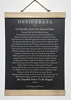 Made in USA. The Desiderata Poem by Max Ehrmann with Unfinished Oak Frame, 11 X 14 Poster. Blackboard Chalk Art Design.