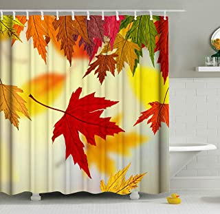 ShineSnow Autumn Golden Tree Maple Fall Falling Leaves Seasonal Scenery Shower Curtain Set 72 x 72 Inches, Home Decor Bathroom Accessories Waterproof Polyester Fabric Curtains