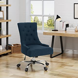 Christopher Knight Home Bagnold Desk Chair, Navy Blue + Chrome