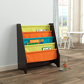 KidKraft Wooden Sling Shelf Bookcase - Bright & Espresso Colors - Canvas Solid Pattern Fabric, Kids Bookshelf, Young Reader Support