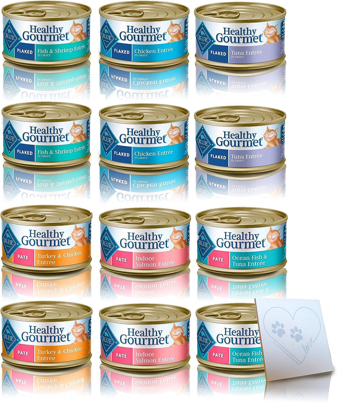 Blue Buffalo Healthy Gourmet Cat Food Variety Pack 12 tanks, 6 Flavors: Salmon, Ocean Fish &Tuna, Tuna, Shrimmp,  cken &Uvey Turkey (3oz Ognuna, 12 Total Cans)
