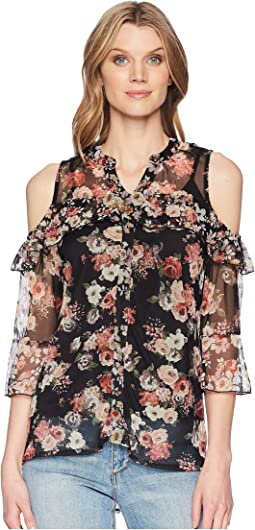 Lucinda Floral Cold Shoulder Top w/ Tank