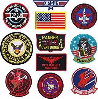 TOP Gun Patch United Sates Navy Fighter Weapons School, American Flag, CV-61 USS Ranger 100 Centurion, Tom Cat, Pete Mitchell Maverick, VX-31, VF-1 Embroidered Patch Morale Appliques Badges11PCS