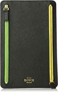 Royce Leather RFID Blocking Zippered Currency and Passport Travel Document Organizer, Black