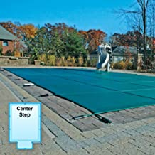 16 x 32 Foot Rectangle Mesh Safety Pool Cover with 4 x 8 Foot Center End Step