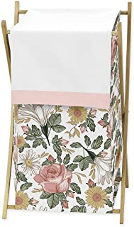 Sweet Jojo Designs Vintage Floral Boho Baby Kid Clothes Laundry Hamper - Blush Pink, Yellow, Green and White Shabby Chic R...
