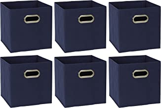 Household Essentials 81-1 Foldable Fabric Storage Cubes | Set of 6 Cubby Bins with Handles Navy Blue