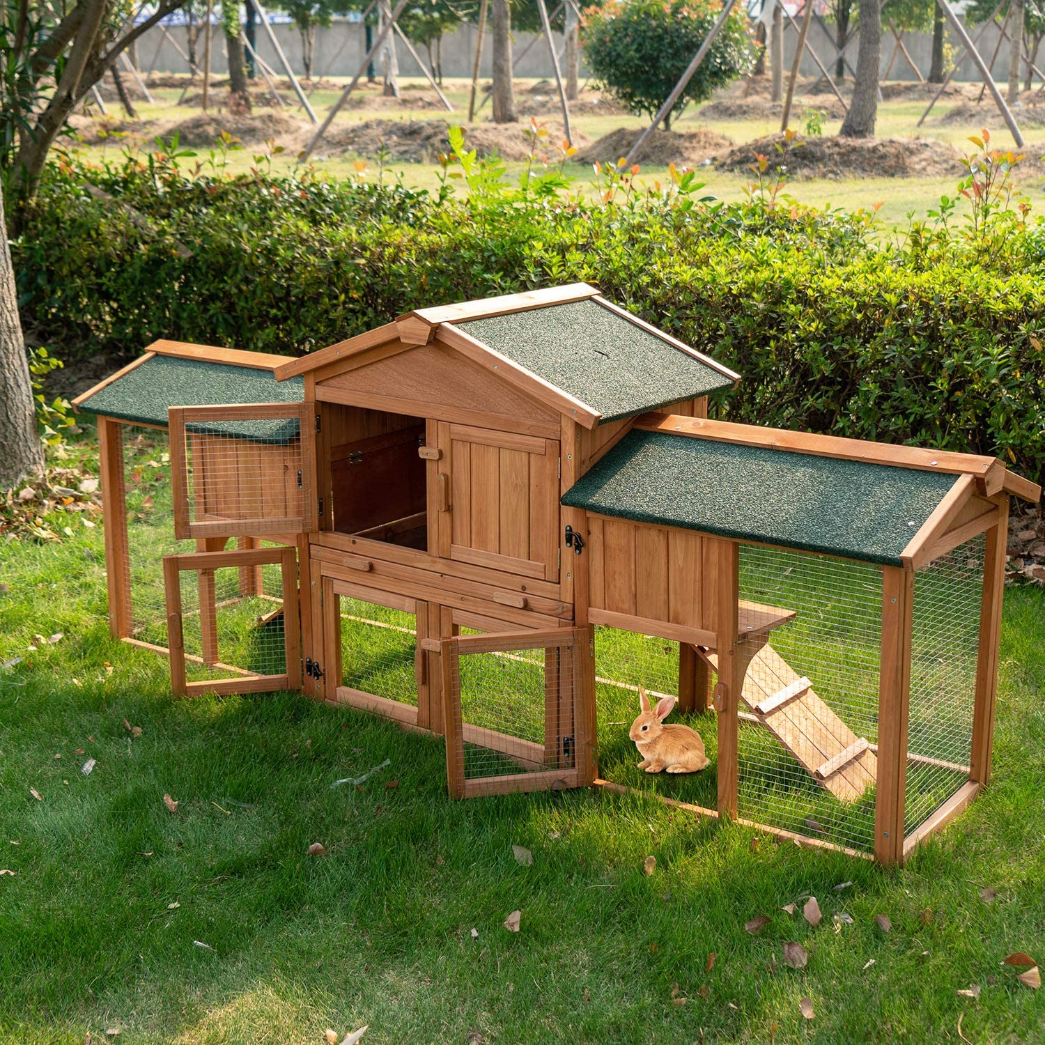 Buy Rabbit Hutch Bunny Cage with Pull Out Tray Outdoor Wooden ...