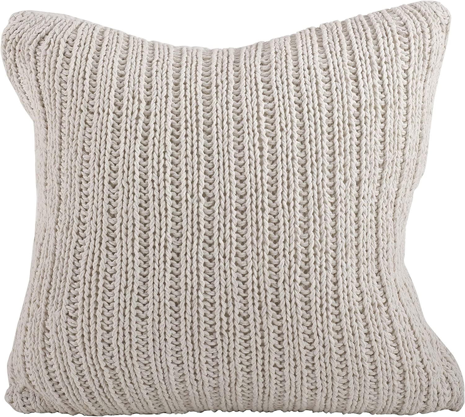 SARO LIFESTYLE 1312 Darcy Knitted Collection Cotton Knitten Design Down Filled Throw Pillow, Ivory, 20  Square,