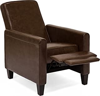 Best Choice Products Faux Leather Upholstered Modern Padded Executive Recliner Club Chair w/Leg Rest, Brown