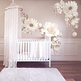 White Floral Wall Sticker Decal Girl Nursery Decor Easy Install Wall Mural