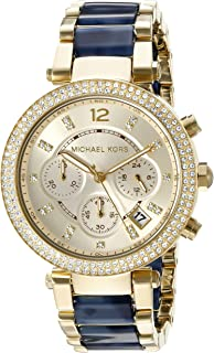 Michael Kors Women's Goldtone Parker Watch with Navy Tortoise Acetate Center Links