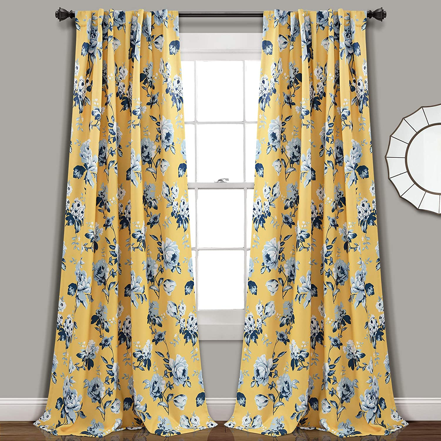 Lush Decor Yellow and Credence Blue Curtains Garden Room Floral Tania Max 60% OFF