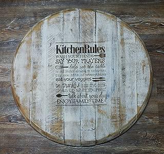 "Kitchen Rules Engraved Farm Style Reclaimed Bourbon Barrel Head Wood Lazy Susan (21"")"