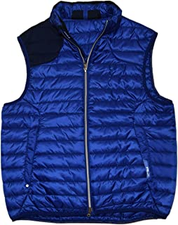 RLX Men Polo Quilted Ribbed Polyester Vest Jacket Blue Black Medium