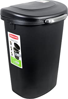 Rubbermaid Touch-Top Wastebasket, 13-Gallon, Metal-Accent Black (1843027)