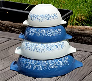 SET OF 4 - Vintage Pyrex COLONIAL MIST Blue & White Glass 1 1/2 Pint, 1 1/2 Quart, 2 1/2 Quart & 4 Quart Mixing Nesting Bowl Set
