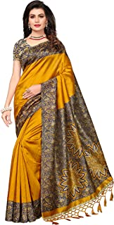 ishin Women's Art Silk/Blended Mysore Silk Printed Saree/Sari With Tassels