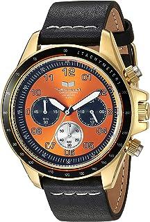 Vestal 'ZR2' acero inoxidable y piel Casual reloj de cuarzo, color: negro (modelo: zr243l22.BKWH)