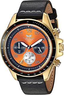 Vestal 'ZR2' Quartz Stainless Steel and Leather Casual Watch, Color:Black (Model: ZR243L22.BKWH)