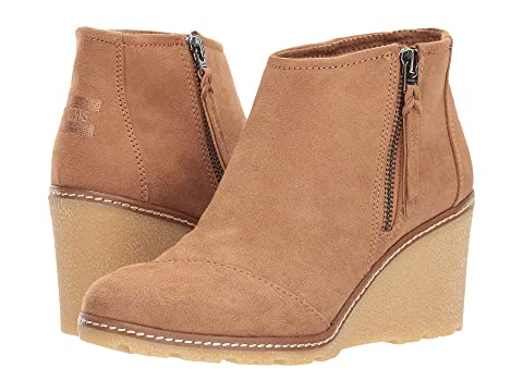 Toms Wedges Avery Wedge, TOFFEE MICROFIBER