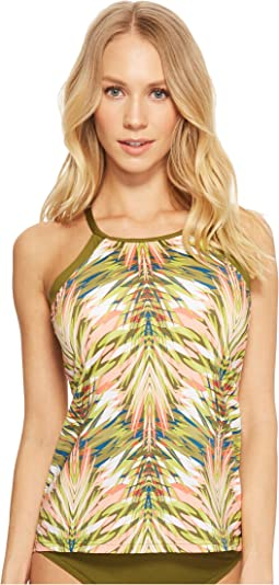 Abstract Palm Leaf Racerback Tankini
