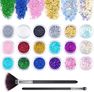 18 Pots Holographic Nail Powder, Gingbiss Nail Sequins Dust Powder with 2 Brushes, 3D Nail Chunky Glitter for Face, Eyes, ...