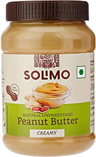 Amazon Brand - Solimo Natural Unsweetened Peanut Butter , Creamy , 1 kg