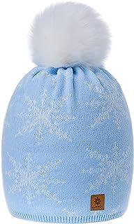 Romens Ltd Gorro Beanie De Invierno para Mujer Copos de Nieve Pompón de Estilo Esquí y Snowboard