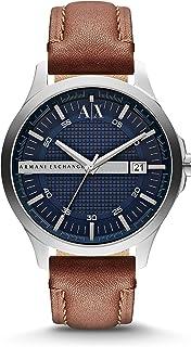 ARMANI EXCHANGE - Orologio da uomo in pelle marrone con quadrante blu scuro - AX2133