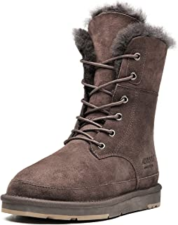 Aumu Womens Shearling Leather Sheepskin Classic Lace up Mid Calf Flat Fur Winter Snow Boots