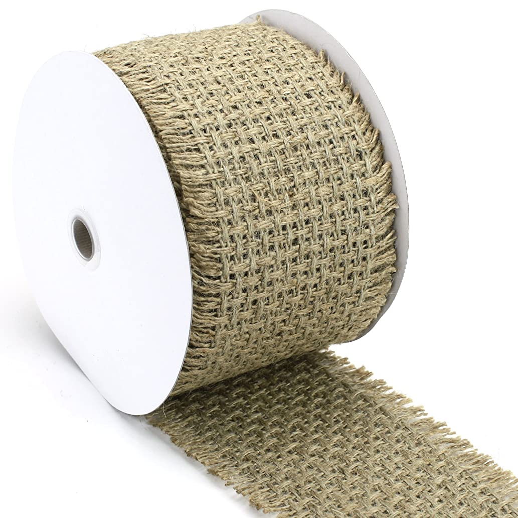 Kel-Toy Woven Jute Burlap Ribbon with Fringed Edge, 4 by 10-Inch, Large, Natural