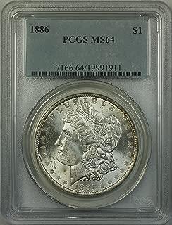 1886 Morgan Silver Dollar Coin (ABR5-K) $1 MS-64 PCGS