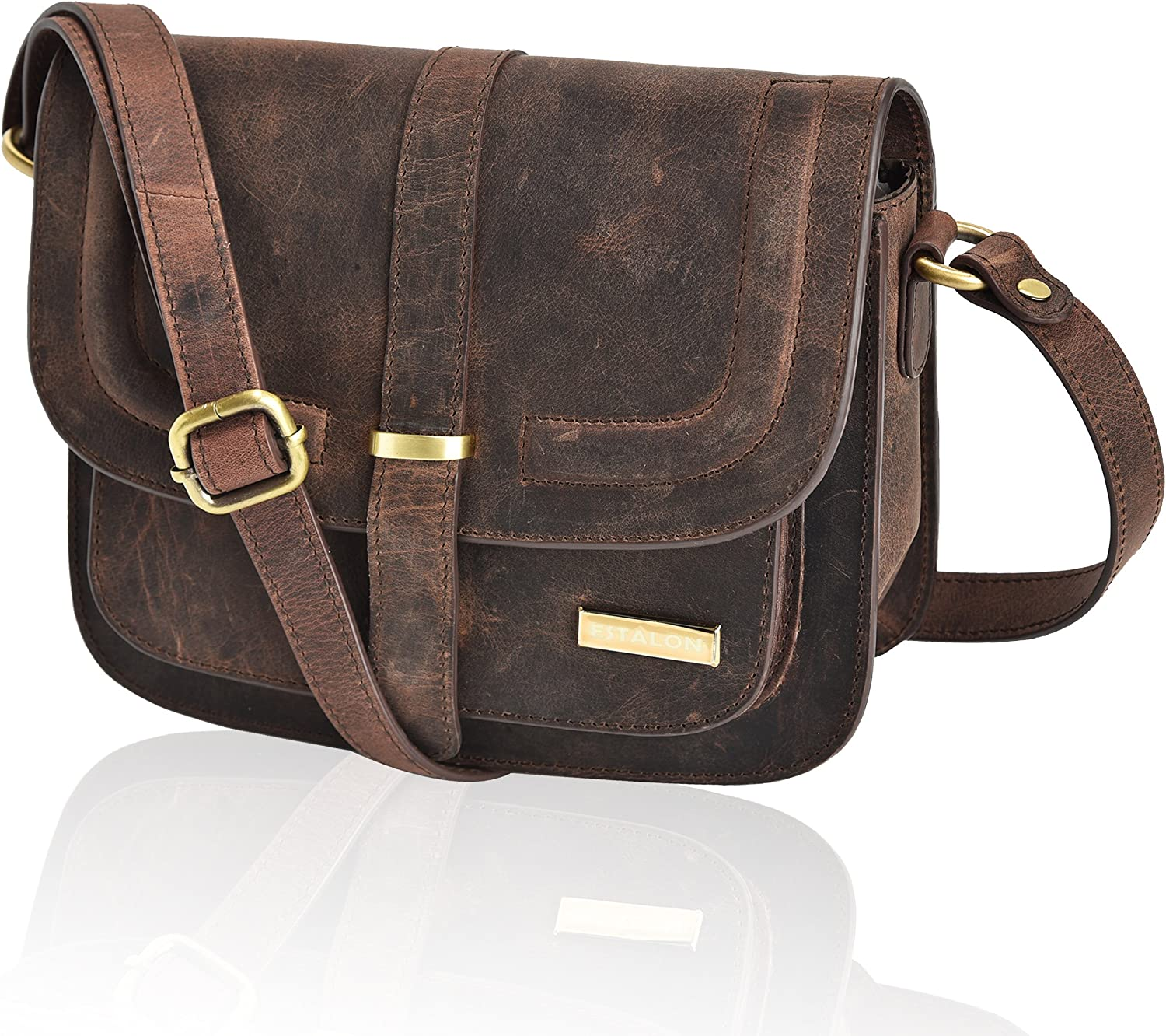 Crossbody Bags for Women - Real Leather Multi Pocket Travel Purse and Sling Bag